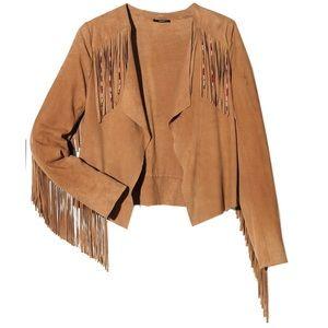 IKKS French designer label kid suede fringe jacket